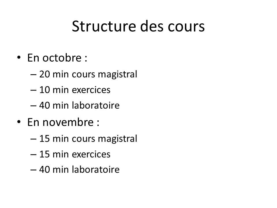 Structure des cours En octobre : – 20 min cours magistral – 10 min exercices – 40 min laboratoire En novembre : – 15 min cours magistral – 15 min exercices – 40 min laboratoire