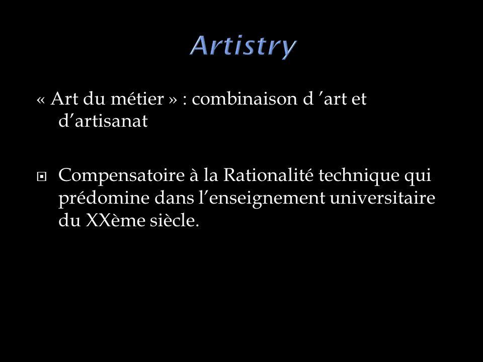 « Art du métier » : combinaison d art et dartisanat Compensatoire à la Rationalité technique qui prédomine dans lenseignement universitaire du XXème siècle.