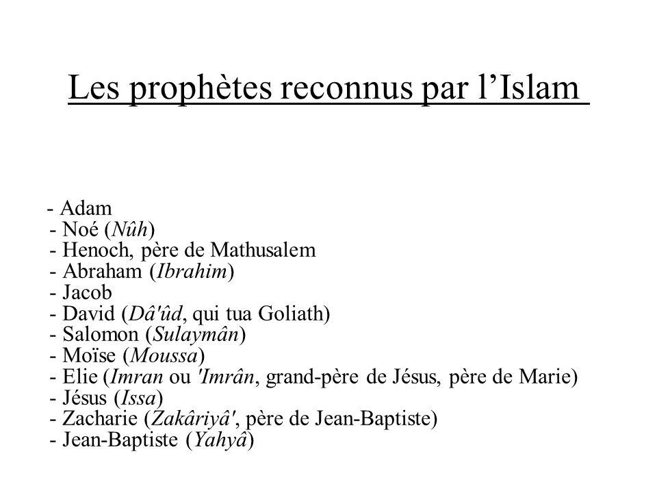 Les prophètes reconnus par lIslam - Adam - Noé (Nûh) - Henoch, père de Mathusalem - Abraham (Ibrahim) - Jacob - David (Dâ'ûd, qui tua Goliath) - Salom