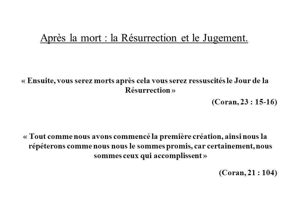 Après la mort : la Résurrection et le Jugement. « Ensuite, vous serez morts après cela vous serez ressuscités le Jour de la Résurrection » (Coran, 23