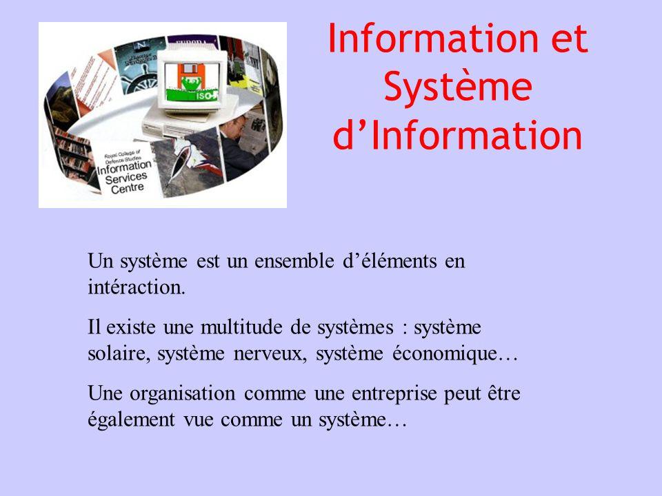 Information et Système dInformation Un système est un ensemble déléments en intéraction. Il existe une multitude de systèmes : système solaire, systèm