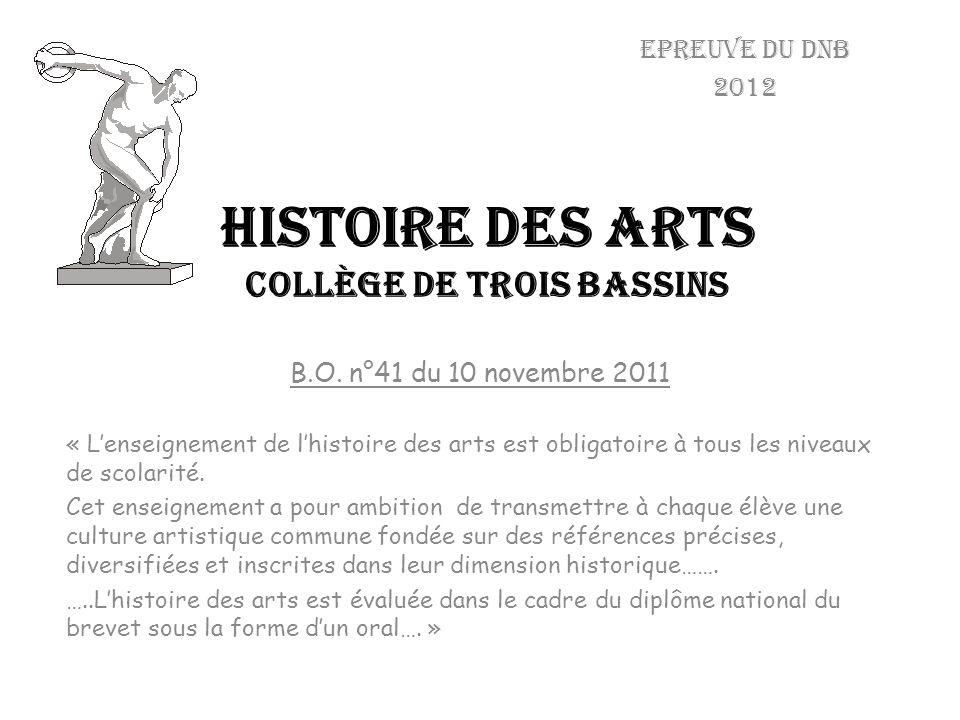 HISTOIRE DES ARTS collège de trois bassins Epreuve du dnb 2012 B.O. n°41 du 10 novembre 2011 « Lenseignement de lhistoire des arts est obligatoire à t