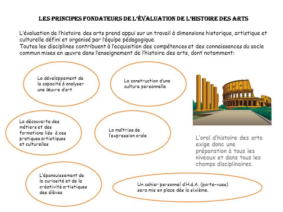 Les principes fondateurs de lévaluation de lhistoire des arts Lévaluation de lhistoire des arts prend appui sur un travail à dimensions historique, ar