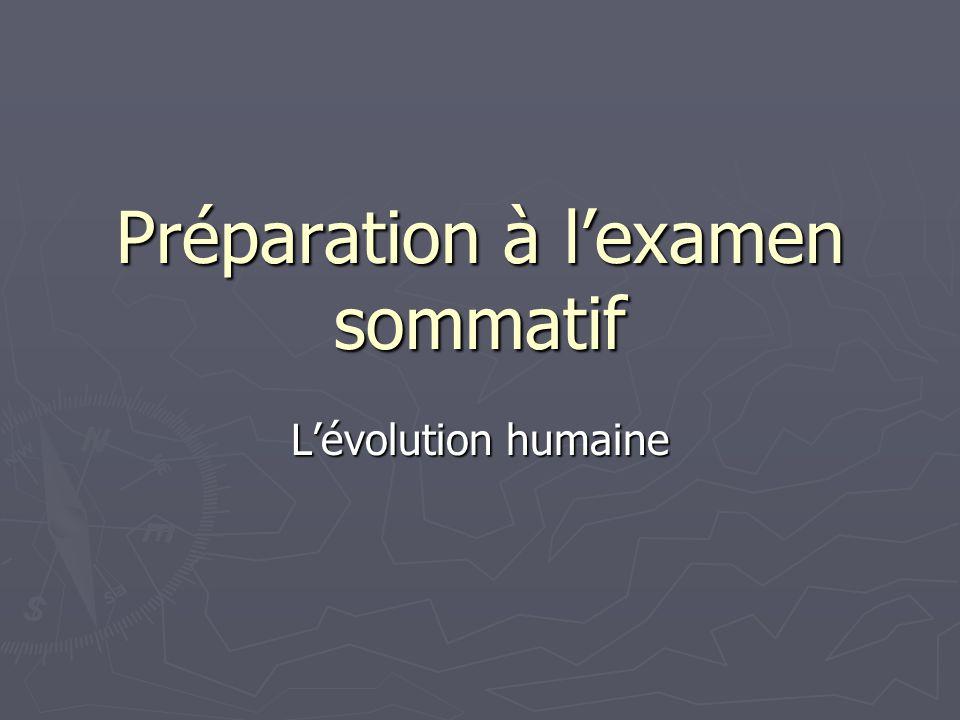 Préparation à lexamen sommatif Lévolution humaine