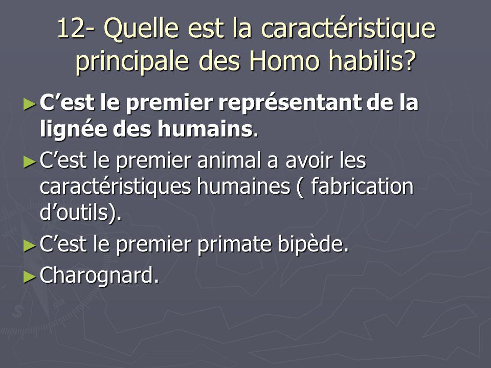 12- Quelle est la caractéristique principale des Homo habilis.