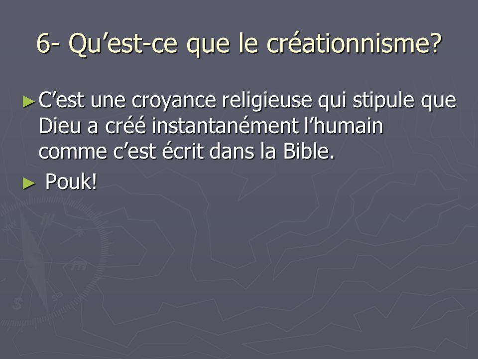 6- Quest-ce que le créationnisme.