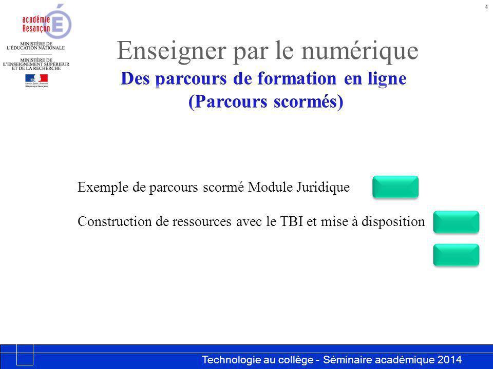 Technologie au collège - Séminaire académique 2014 Académie de Besançon Enseigner par le numérique 4 Exemple de parcours scormé Module Juridique Construction de ressources avec le TBI et mise à disposition