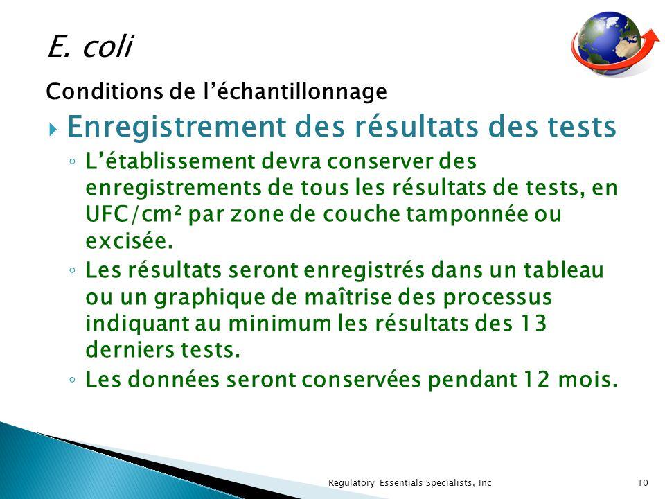 Enregistrement des résultats des tests Létablissement devra conserver des enregistrements de tous les résultats de tests, en UFC/cm² par zone de couche tamponnée ou excisée.