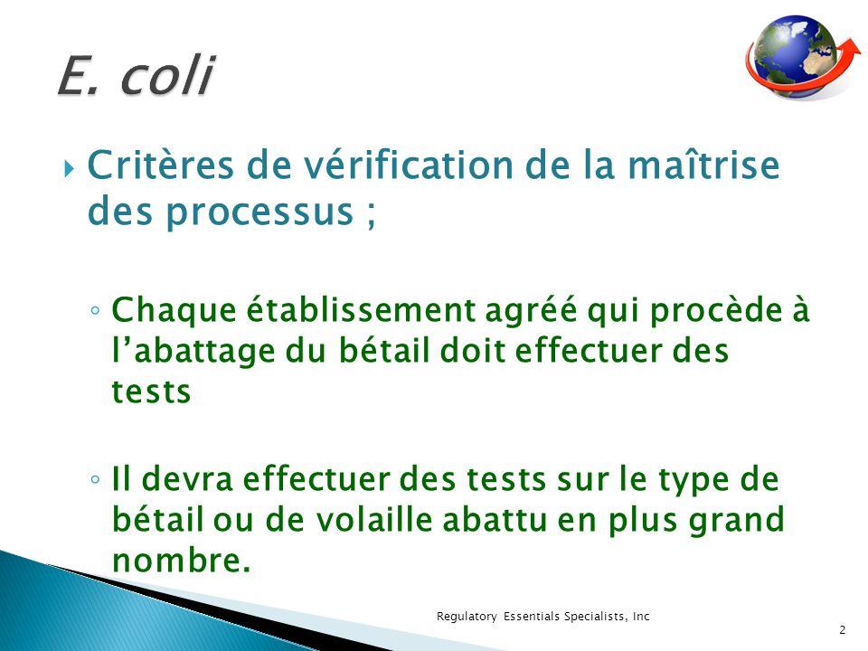 Critères de vérification de la maîtrise des processus ; Chaque établissement agréé qui procède à labattage du bétail doit effectuer des tests Il devra effectuer des tests sur le type de bétail ou de volaille abattu en plus grand nombre.