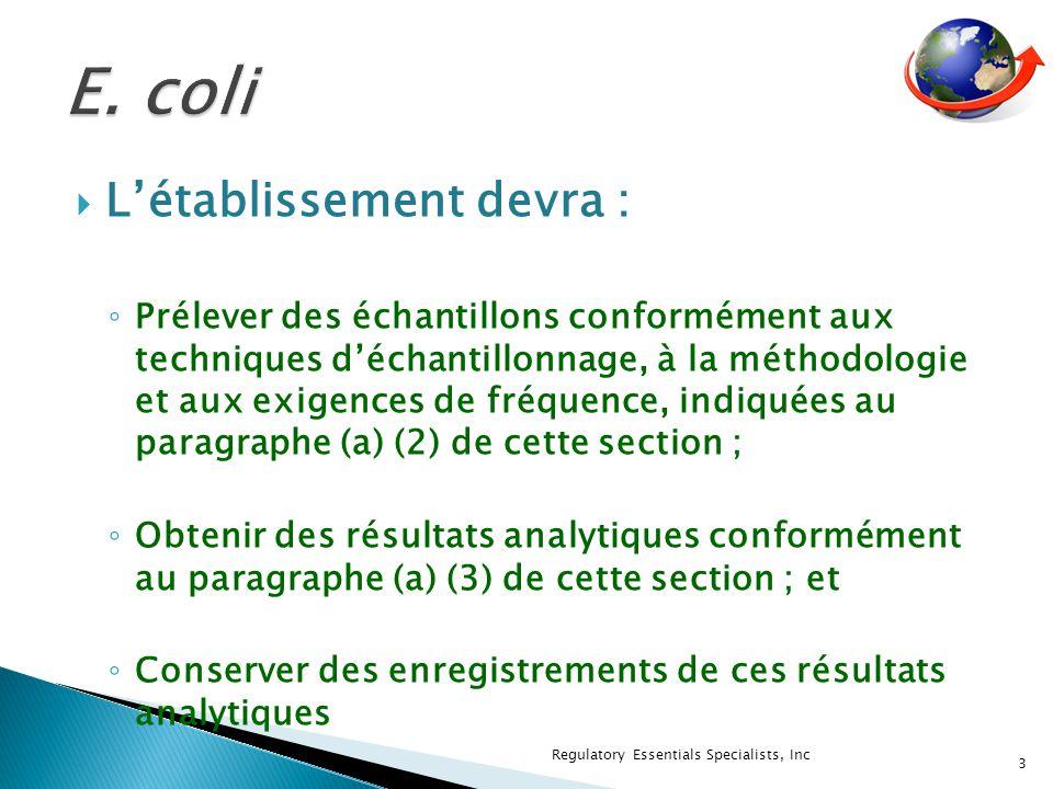 Létablissement devra : Prélever des échantillons conformément aux techniques déchantillonnage, à la méthodologie et aux exigences de fréquence, indiquées au paragraphe (a) (2) de cette section ; Obtenir des résultats analytiques conformément au paragraphe (a) (3) de cette section ; et Conserver des enregistrements de ces résultats analytiques 3 Regulatory Essentials Specialists, Inc