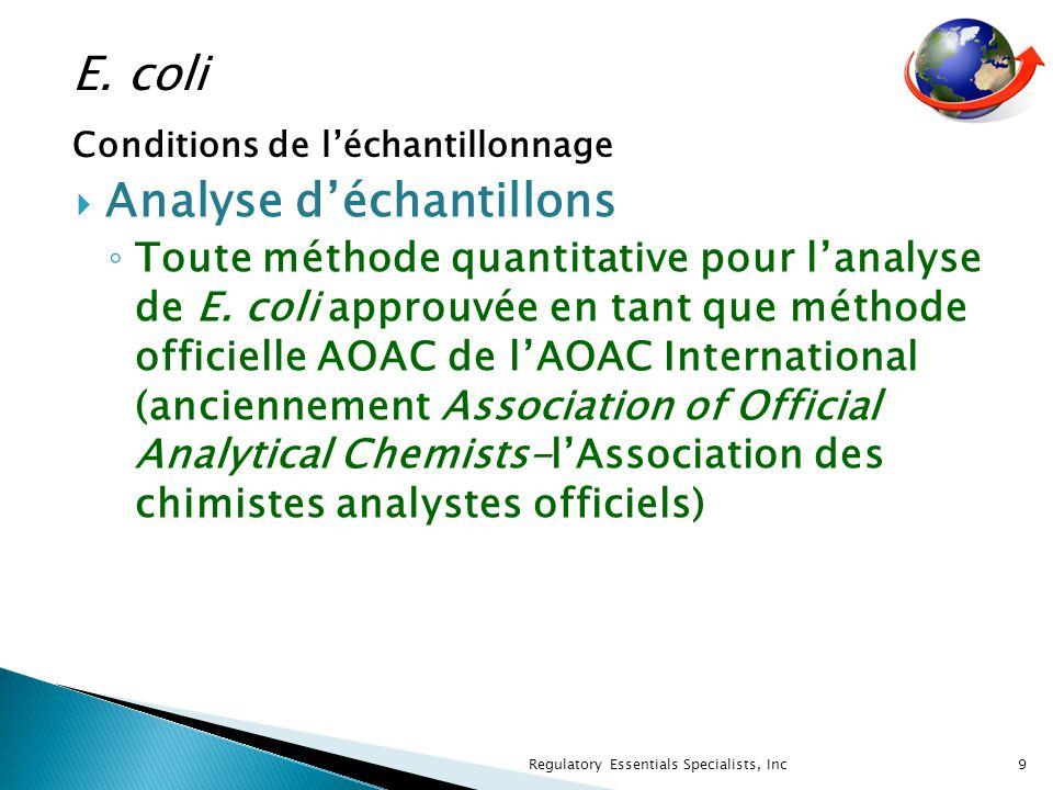 Analyse déchantillons Toute méthode quantitative pour lanalyse de E.