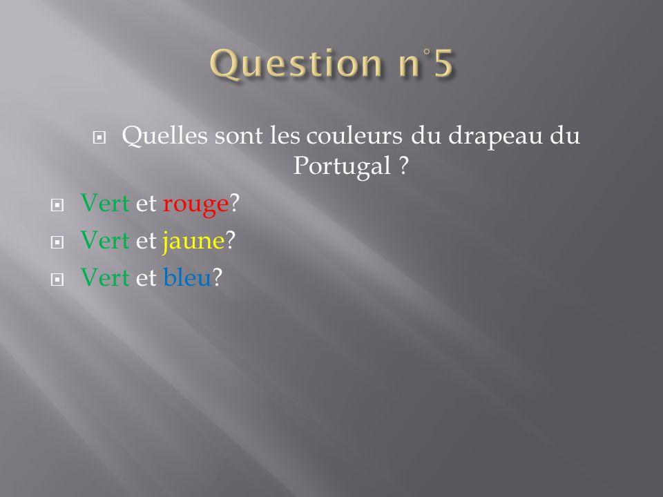 Quelles sont les couleurs du drapeau du Portugal ? Vert et rouge? Vert et jaune? Vert et bleu?