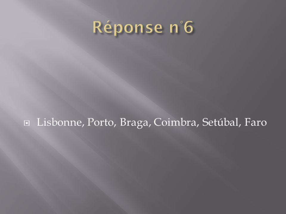 Lisbonne, Porto, Braga, Coimbra, Setúbal, Faro