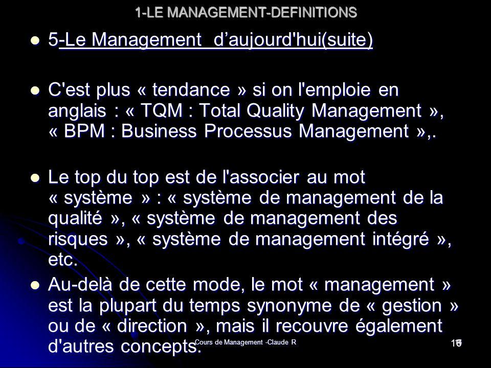 Cours de Management -Claude R16 1-LE MANAGEMENT-DEFINITIONS 5-Le Management daujourd'hui(suite) 5-Le Management daujourd'hui(suite) C'est plus « tenda
