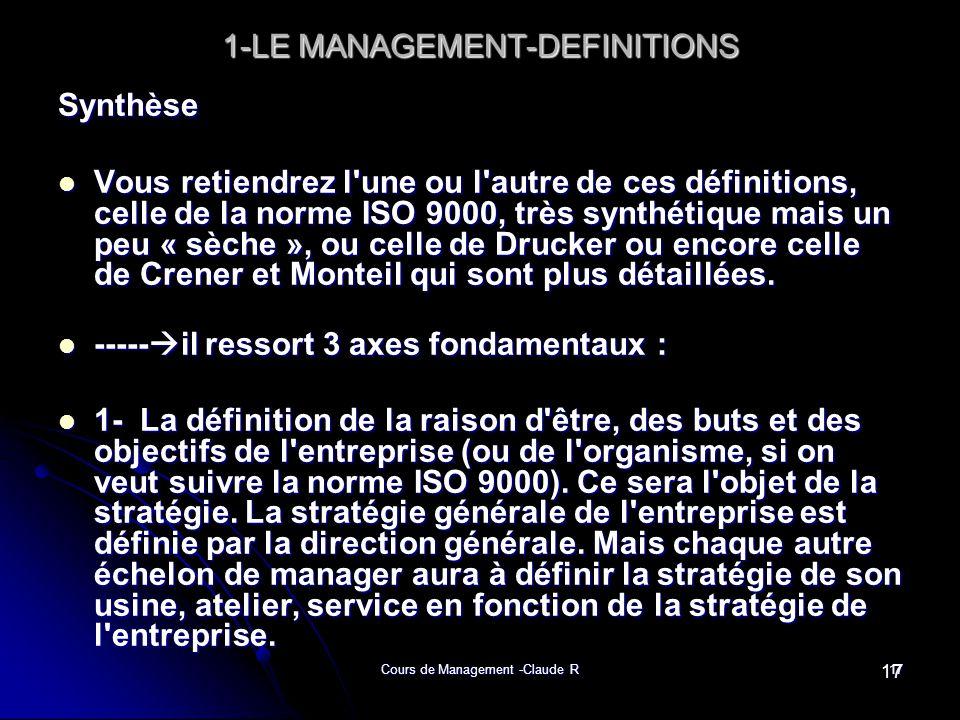 Cours de Management -Claude R17 1-LE MANAGEMENT-DEFINITIONS Synthèse Vous retiendrez l'une ou l'autre de ces définitions, celle de la norme ISO 9000,
