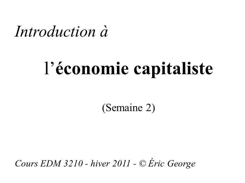 Introduction à léconomie capitaliste (Semaine 2) Cours EDM 3210 - hiver 2011 - © Éric George