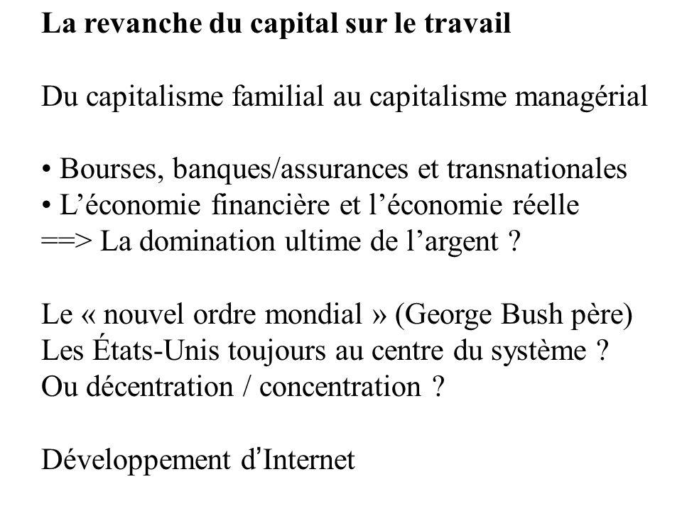 La revanche du capital sur le travail Du capitalisme familial au capitalisme managérial Bourses, banques/assurances et transnationales Léconomie finan