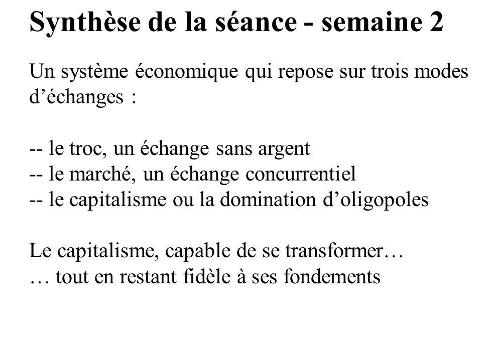 Synthèse de la séance - semaine 2 Un système économique qui repose sur trois modes déchanges : -- le troc, un échange sans argent -- le marché, un éch
