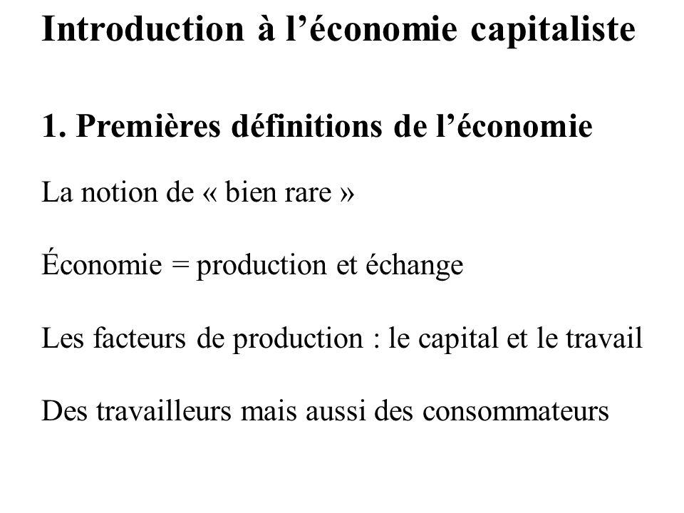 Introduction à léconomie capitaliste 1. Premières définitions de léconomie La notion de « bien rare » Économie = production et échange Les facteurs de