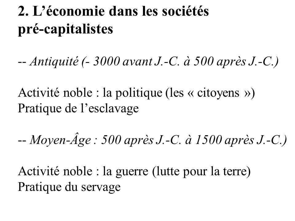 2. Léconomie dans les sociétés pré-capitalistes -- Antiquité (- 3000 avant J.-C. à 500 après J.-C.) Activité noble : la politique (les « citoyens ») P