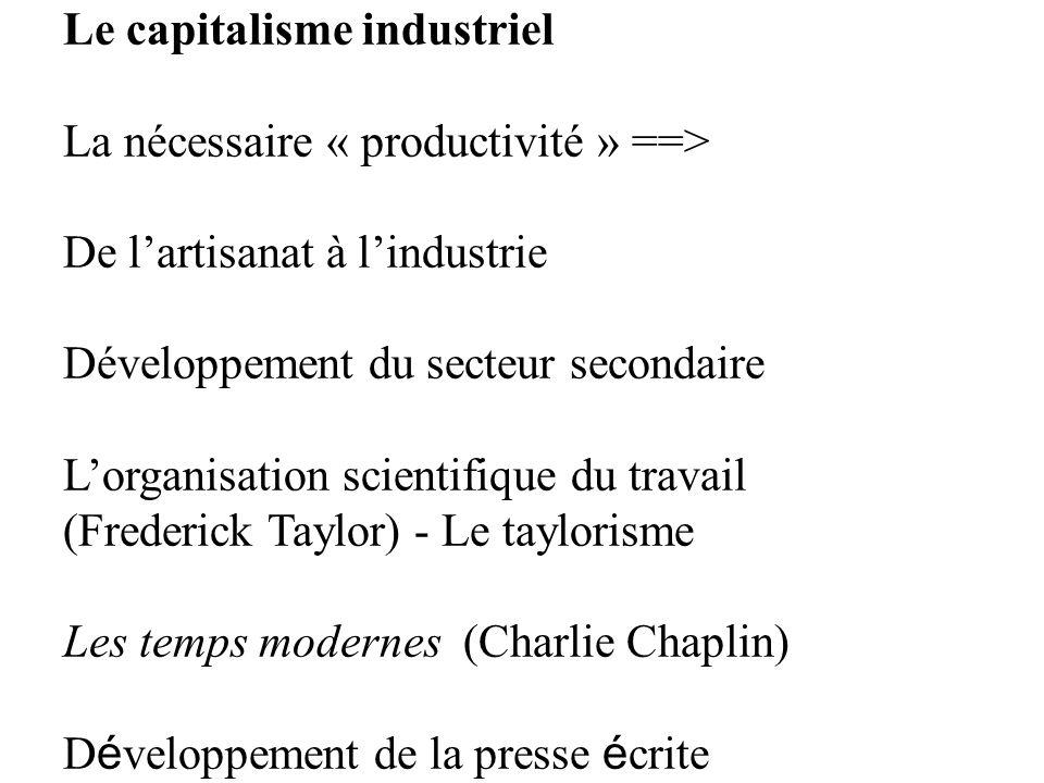 Le capitalisme industriel La nécessaire « productivité » ==> De lartisanat à lindustrie Développement du secteur secondaire Lorganisation scientifique