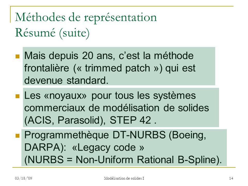 03/18/'09 Modélisation de solides I 14 Méthodes de représentation Résumé (suite) Mais depuis 20 ans, cest la méthode frontalière (« trimmed patch ») q