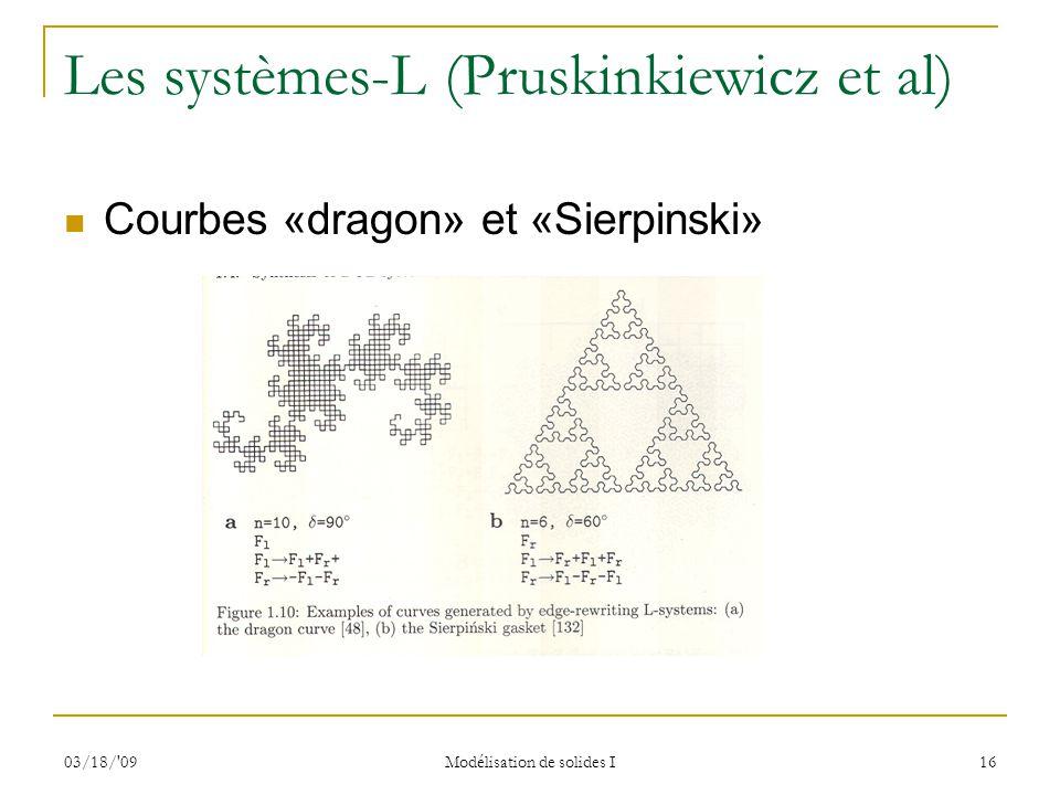 03/18/'09 Modélisation de solides I 16 Les systèmes-L (Pruskinkiewicz et al) Courbes «dragon» et «Sierpinski»