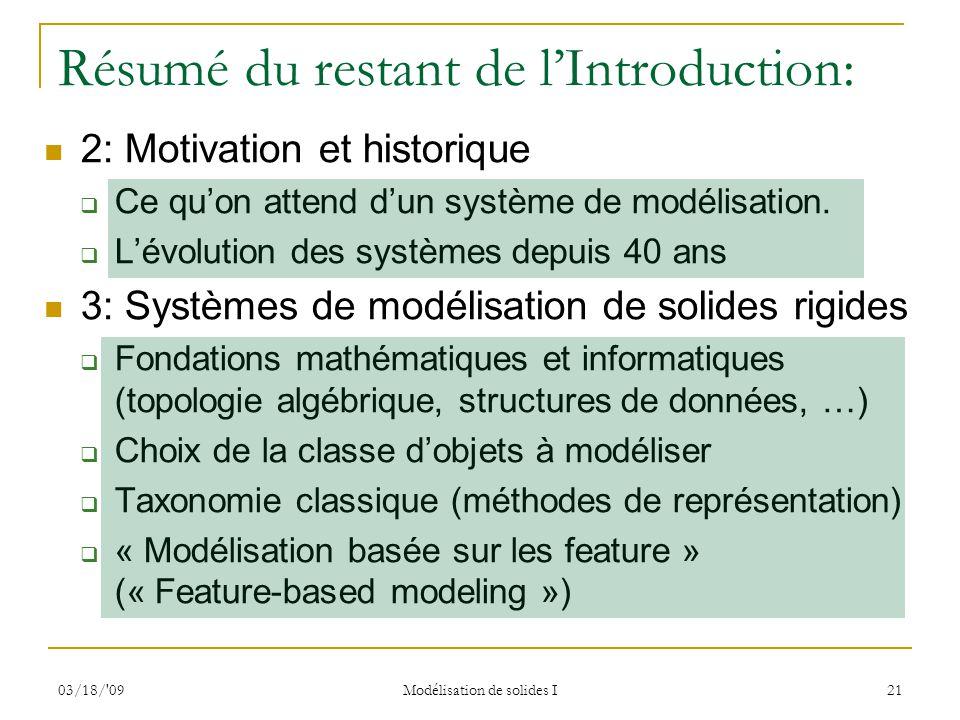 03/18/'09 Modélisation de solides I 21 Résumé du restant de lIntroduction: 2: Motivation et historique Ce quon attend dun système de modélisation. Lév
