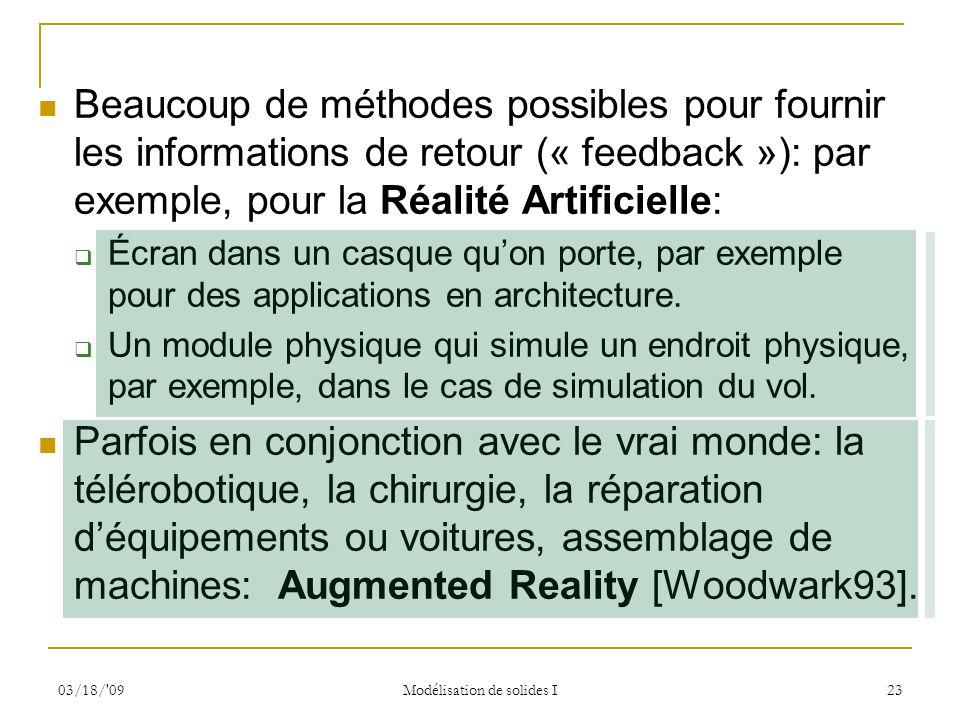 03/18/'09 Modélisation de solides I 23 Beaucoup de méthodes possibles pour fournir les informations de retour (« feedback »): par exemple, pour la Réa