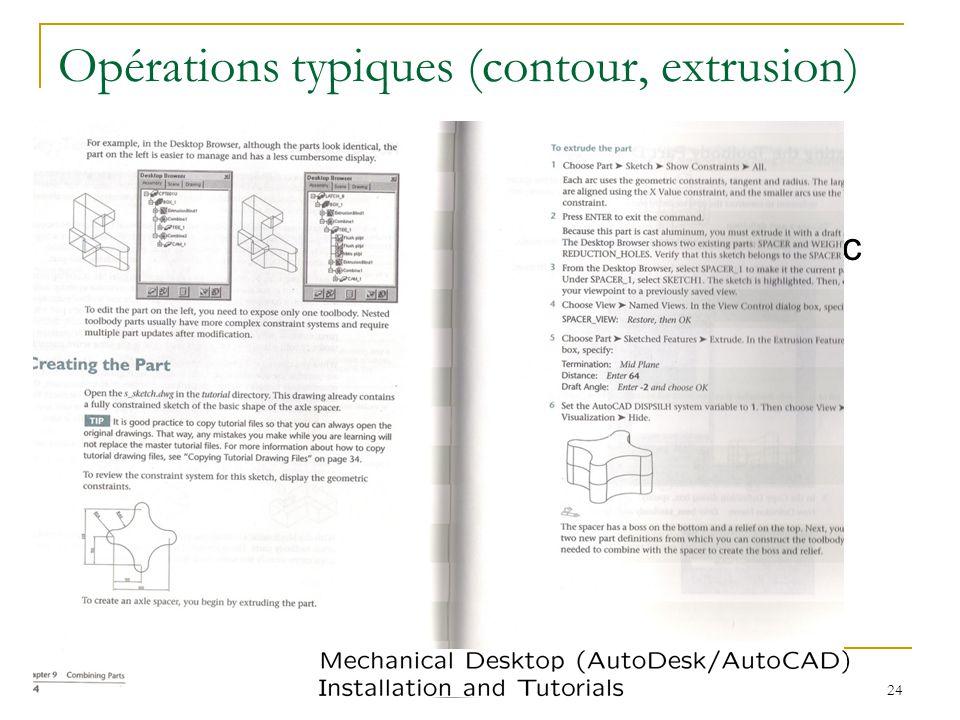 03/18/'09 Modélisation de solides I 24 Opérations typiques (contour, extrusion) Lexemple montre déjà un certain nombre dopérations que nous voulons av