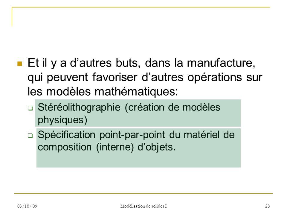 03/18/'09 Modélisation de solides I 28 Et il y a dautres buts, dans la manufacture, qui peuvent favoriser dautres opérations sur les modèles mathémati