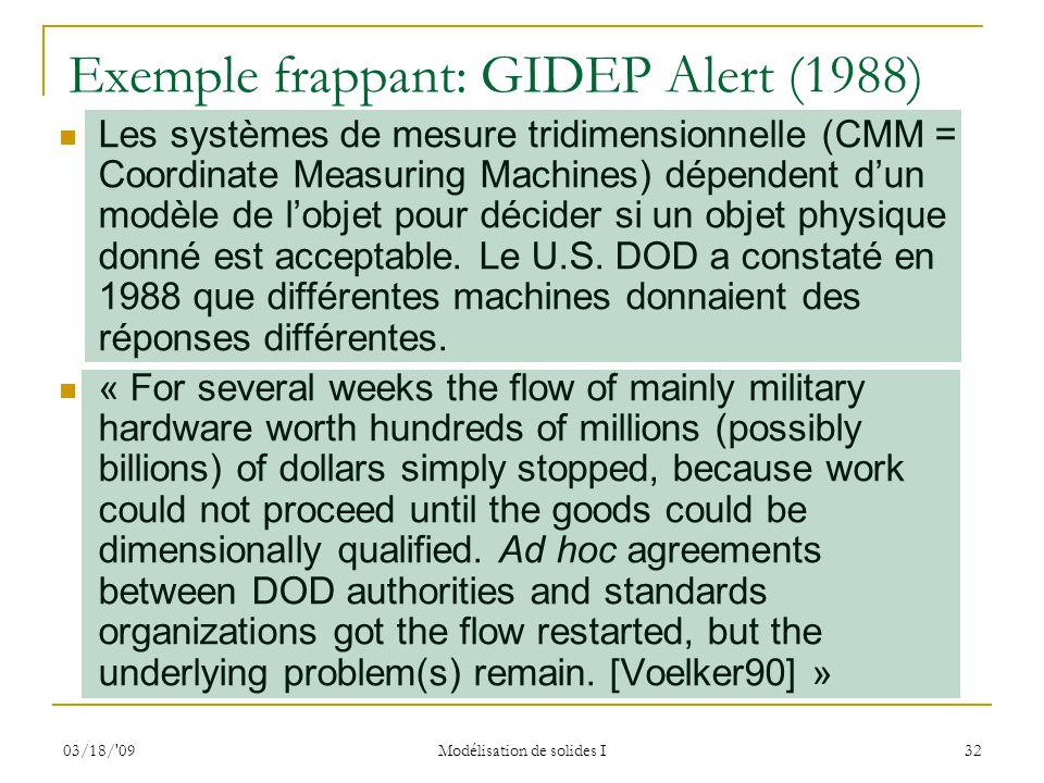 03/18/'09 Modélisation de solides I 32 Exemple frappant: GIDEP Alert (1988) Les systèmes de mesure tridimensionnelle (CMM = Coordinate Measuring Machi