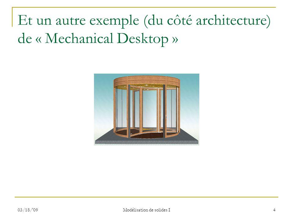 03/18/'09 Modélisation de solides I 4 Et un autre exemple (du côté architecture) de « Mechanical Desktop »