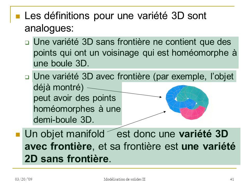 03/20/'09 Modélisation de solides II 41 Les définitions pour une variété 3D sont analogues: Une variété 3D sans frontière ne contient que des points q