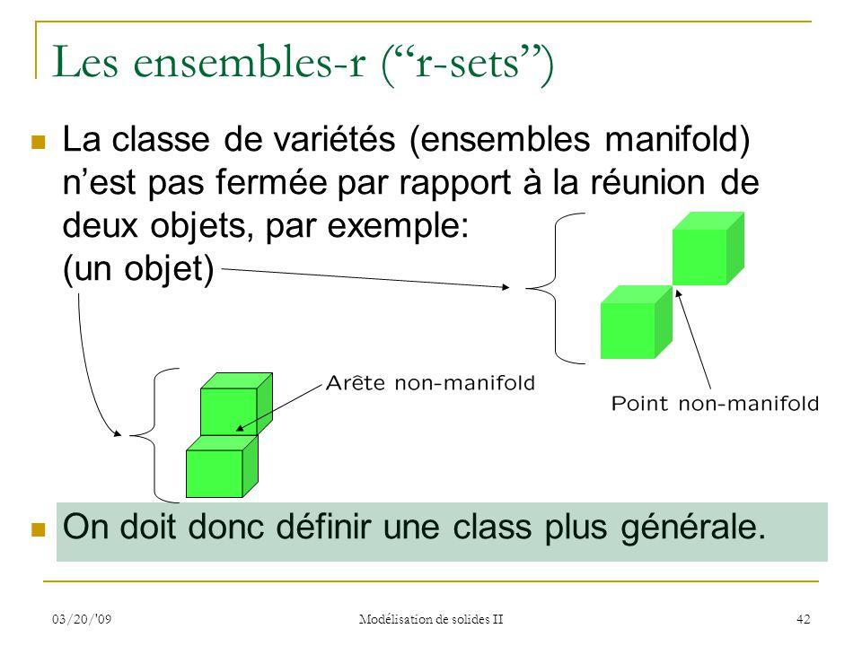 03/20/'09 Modélisation de solides II 42 Les ensembles-r (r-sets) La classe de variétés (ensembles manifold) nest pas fermée par rapport à la réunion d
