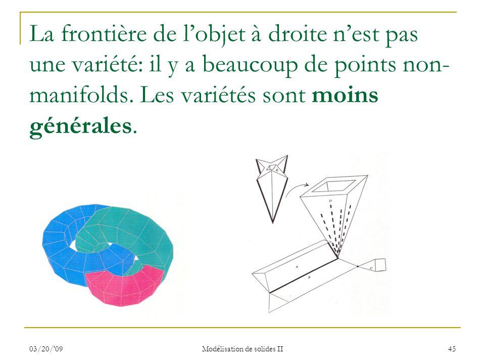 03/20/'09 Modélisation de solides II 45 La frontière de lobjet à droite nest pas une variété: il y a beaucoup de points non- manifolds. Les variétés s