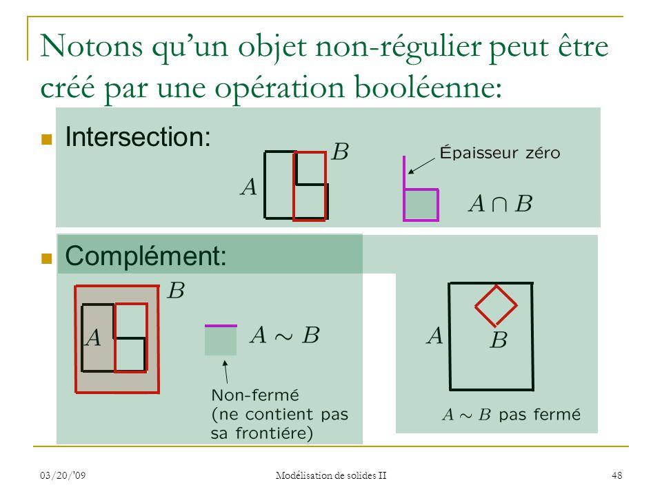 03/20/'09 Modélisation de solides II 48 Notons quun objet non-régulier peut être créé par une opération booléenne: Intersection: Complément: