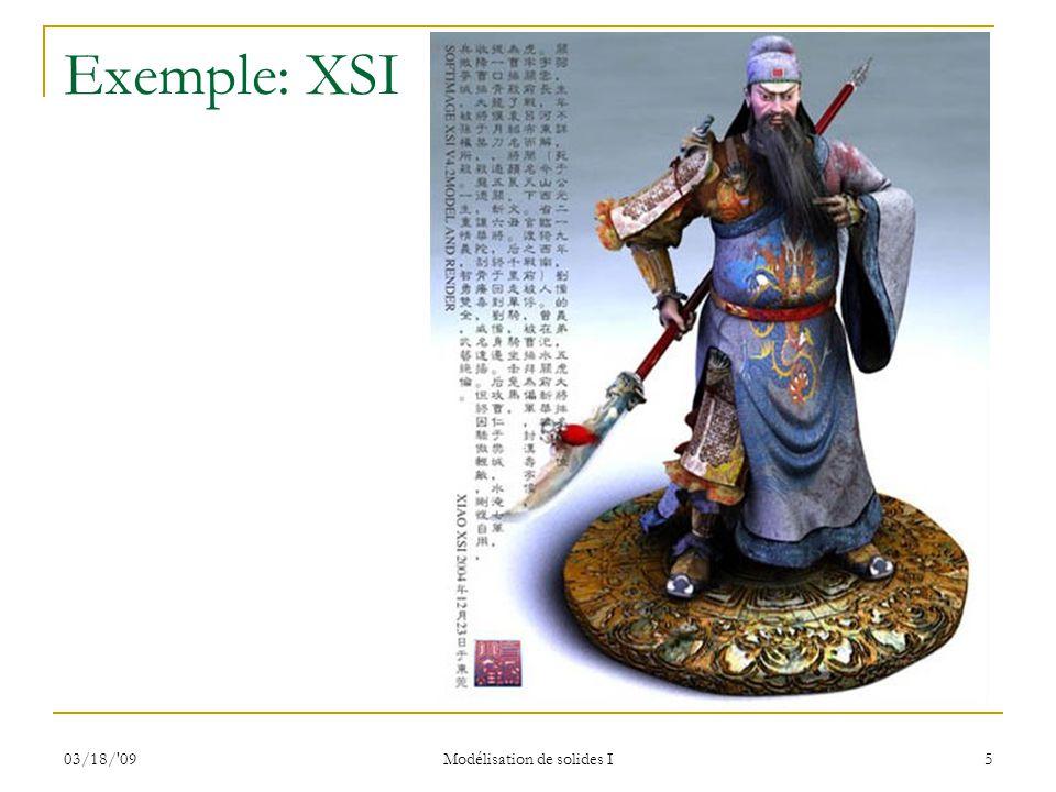 03/18/'09 Modélisation de solides I 5 Exemple: XSI