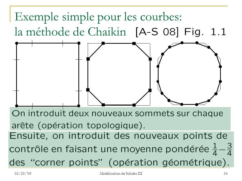 03/20/'09 Modélisation de Solides III 54 Exemple simple pour les courbes: la méthode de Chaikin