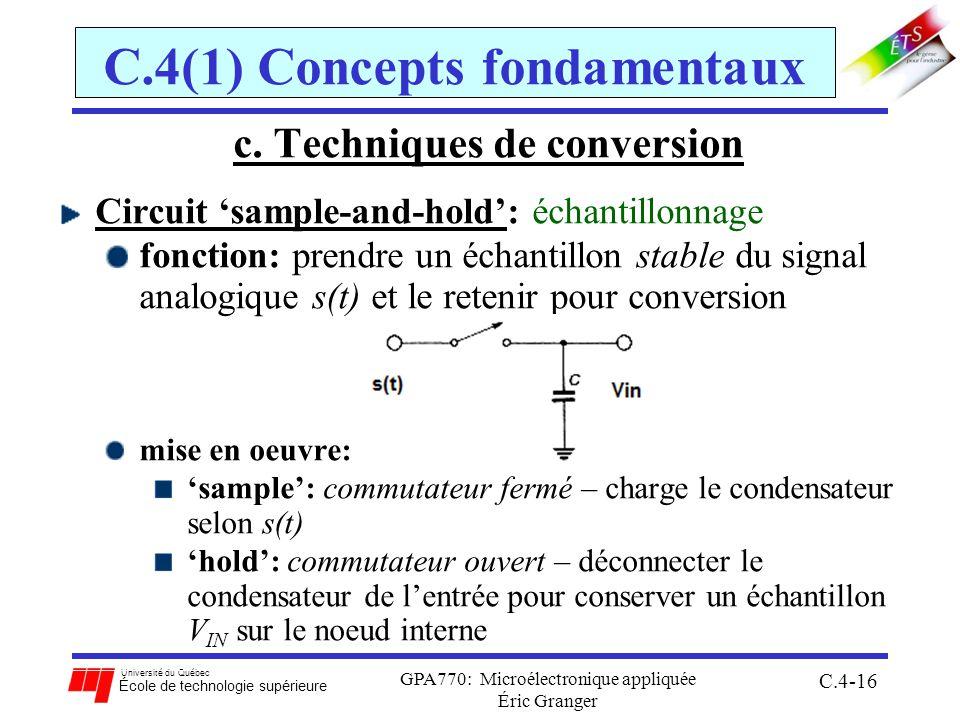 Université du Québec École de technologie supérieure GPA770: Microélectronique appliquée Éric Granger C.4-16 C.4(1) Concepts fondamentaux c.