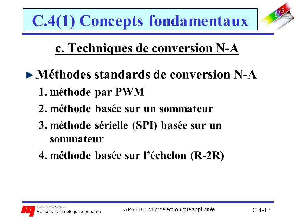 Université du Québec École de technologie supérieure GPA770: Microélectronique appliquée C.4-17 C.4(1) Concepts fondamentaux c. Techniques de conversi