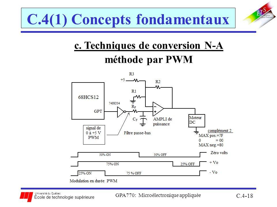 Université du Québec École de technologie supérieure GPA770: Microélectronique appliquée C.4-18 C.4(1) Concepts fondamentaux c. Techniques de conversi