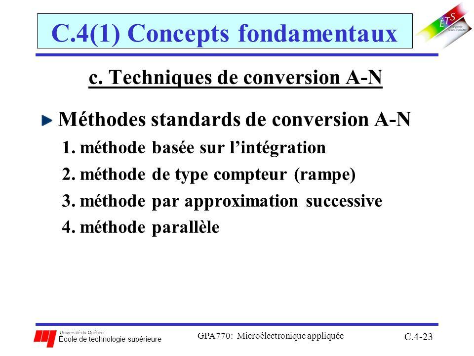 Université du Québec École de technologie supérieure GPA770: Microélectronique appliquée C.4-23 C.4(1) Concepts fondamentaux c. Techniques de conversi