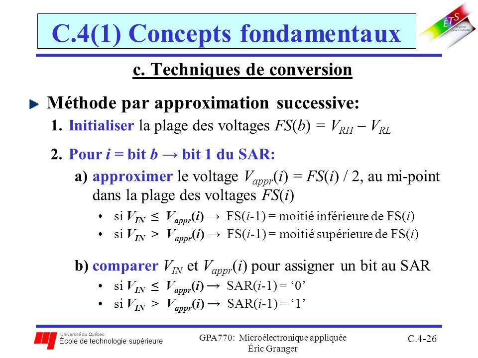 Université du Québec École de technologie supérieure GPA770: Microélectronique appliquée Éric Granger C.4-26 C.4(1) Concepts fondamentaux c. Technique