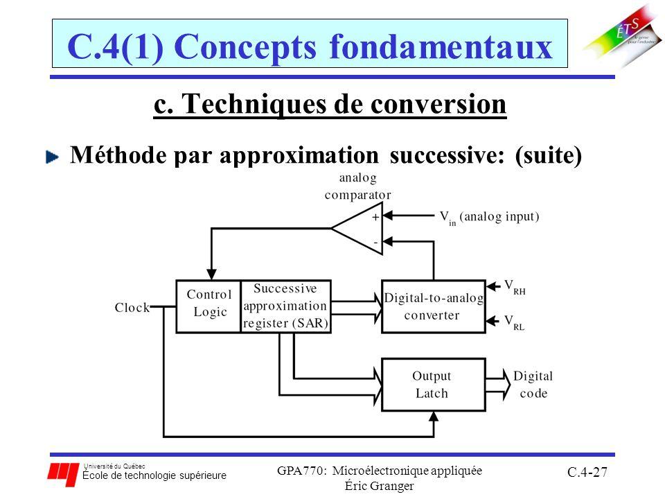 Université du Québec École de technologie supérieure GPA770: Microélectronique appliquée Éric Granger C.4-27 C.4(1) Concepts fondamentaux c. Technique