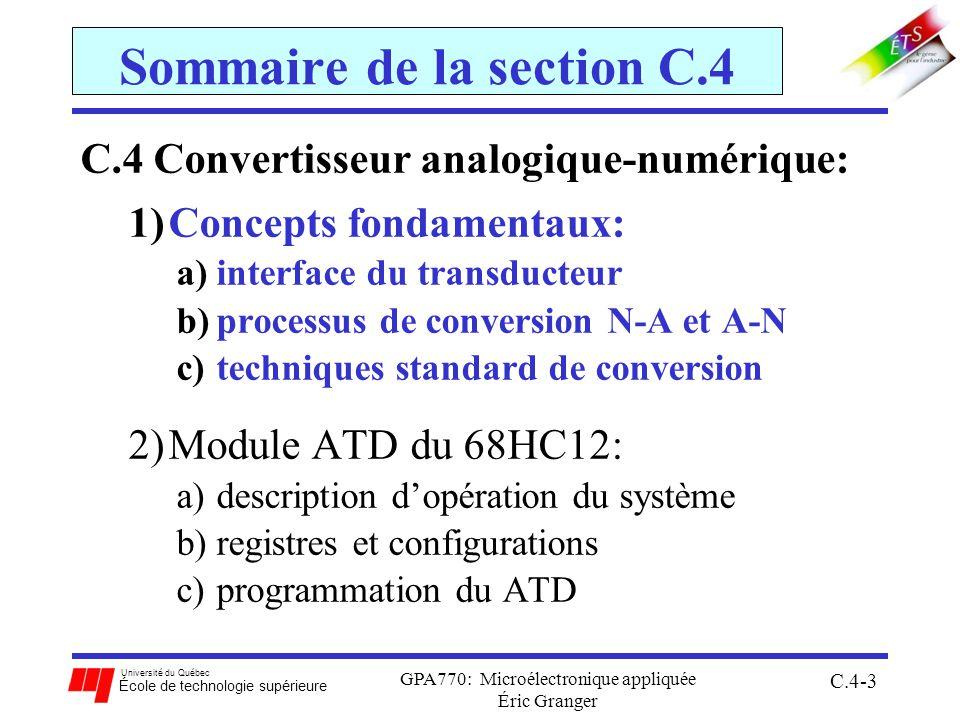 Université du Québec École de technologie supérieure GPA770: Microélectronique appliquée Éric Granger C.4-3 Sommaire de la section C.4 C.4 Convertisseur analogique-numérique: 1)Concepts fondamentaux: a)interface du transducteur b)processus de conversion N-A et A-N c)techniques standard de conversion 2)Module ATD du 68HC12: a)description dopération du système b)registres et configurations c)programmation du ATD