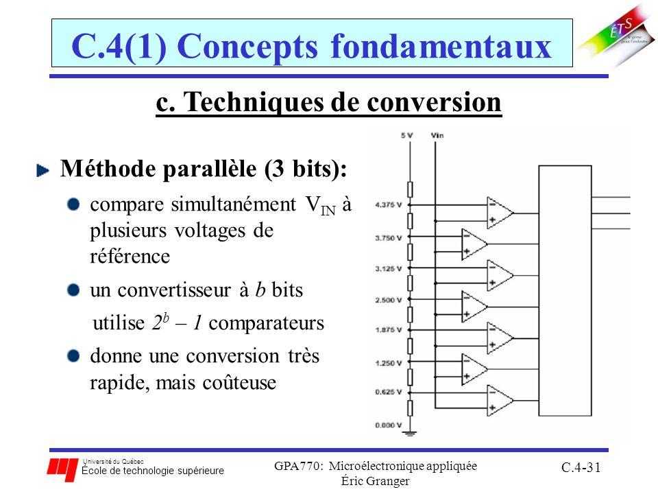 Université du Québec École de technologie supérieure GPA770: Microélectronique appliquée Éric Granger C.4-31 C.4(1) Concepts fondamentaux Méthode parallèle (3 bits): compare simultanément V IN à plusieurs voltages de référence un convertisseur à b bits utilise 2 b – 1 comparateurs donne une conversion très rapide, mais coûteuse c.