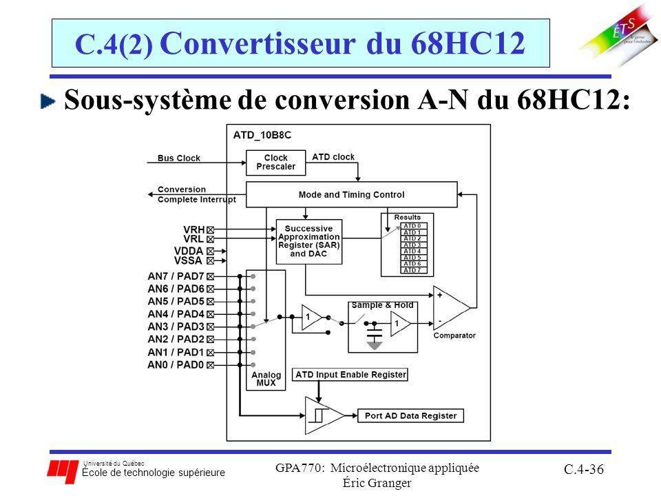 Université du Québec École de technologie supérieure GPA770: Microélectronique appliquée Éric Granger C.4-36 C.4(2) Convertisseur du 68HC12 Sous-systè