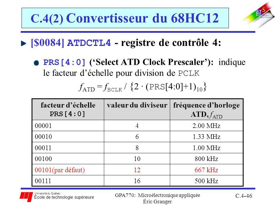 Université du Québec École de technologie supérieure GPA770: Microélectronique appliquée Éric Granger C.4-46 C.4(2) Convertisseur du 68HC12 [$0084] AT