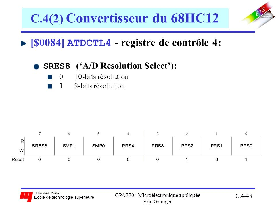 Université du Québec École de technologie supérieure GPA770: Microélectronique appliquée Éric Granger C.4-48 C.4(2) Convertisseur du 68HC12 [$0084] ATDCTL4 - registre de contrôle 4: SRES8 (A/D Resolution Select): 0 10-bits résolution 1 8-bits résolution